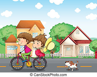 A boy and a girl biking followed by a dog - Illustration of...