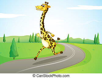 A giraffe running along the road - Illustration of a giraffe...