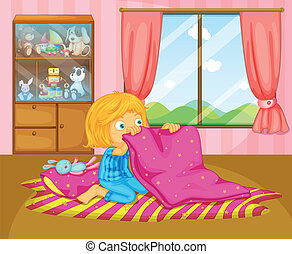A girl folding her blanket - Illustration of a girl folding...
