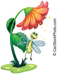 A dragonfly flying under the flower - Illustration of a...