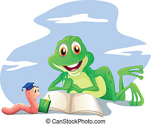 An earthworm and a frog reading - Illustration of an...