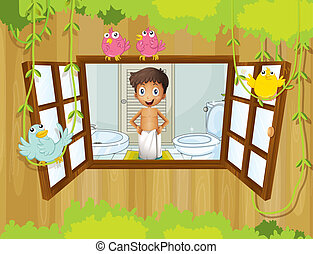 A boy with a towel inside the bathroom - Illustration of a...