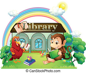 A monkey and a parrot reading in front of the library -...