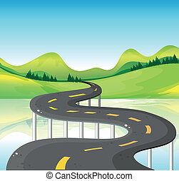 A very narrow curve road - Illustration of a very narrow...