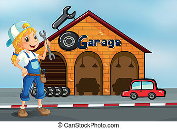 A girl holding a tool standing in front of a garage -...