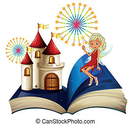 A storybook with a castle and a fairy - Illustration of a...