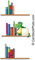 Bookshelves with an alligator holding an empty signboard