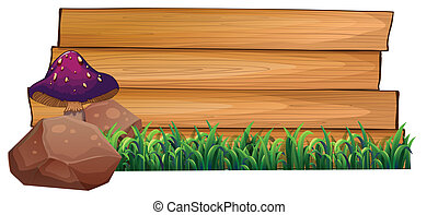 Illustration of an empty wooden signboard at the back of a mushroom, rocks and green grasses on a white background