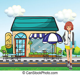 A girl in front of the coffee shop - Illustration of a girl...