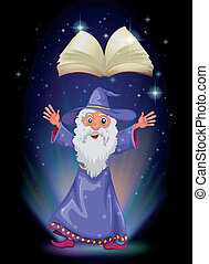 An old wizard below the floating empty book