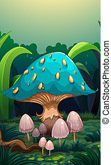 A giant mushroom surrounded with small mushrooms