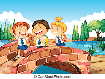 Children going to school - Illustration of the children...