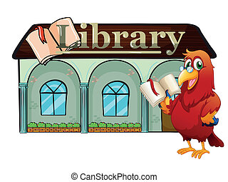 A parrot holding a book outside the library - Illustration...
