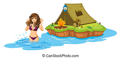 A sexy girl swimming near the island with a camping tent -...