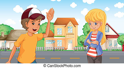 A boy and a girl talking across the neighborhood -...