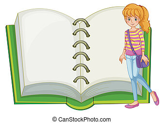 A girl and a blank notebook - Illustration of a girl and a...
