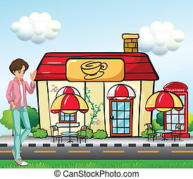 A boy standing in front of the coffee shop - Illustration of...