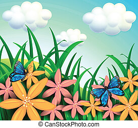 Butterflies and flowers at the garden - Illustration of the...