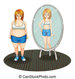 A fat girl and her skinny reflection - Illustration of a fat...