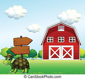 A turtle with a wooden arrow board and a barn at the back -...