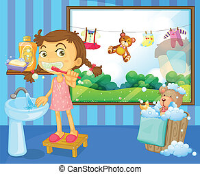 A child brushing her teeth - Illustration of a child...