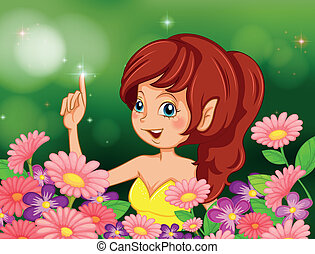 A pretty fairy in the garden with pink and purple flowers