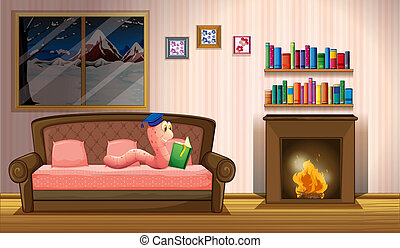 A worm reading a book near the fireplace - Illustration of a...