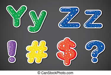 Two letters and four different symbols - Illustration of the...