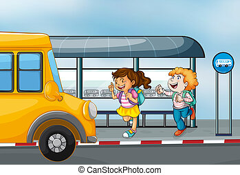 Happy passengers at the bus station - Illustration of the...