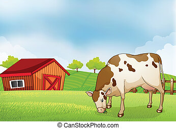 A cow in the farm