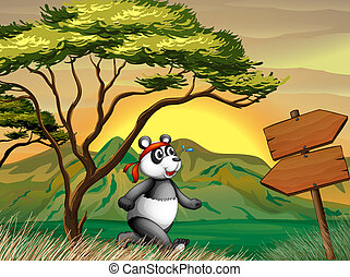 A panda following the wooden arrowboard - Illustration of a...