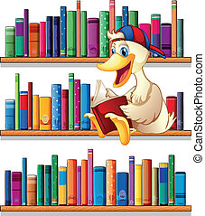 A library with a duck reading - Illustration of a library...
