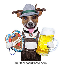 oktoberfest dog with beer mug and gingerbread heart, smiling...