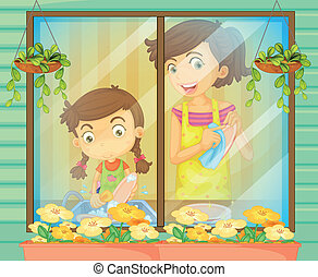A child helping her mother washing the dishes - Illustration...
