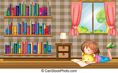 A girl reading a book near a window with a pink curtain -...