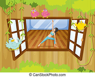 A girl doing yoga near the window - Illustration of a girl...