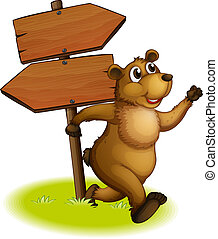 A bear running with a wooden arrow board at the back -...