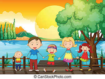 A happy family at the wooden bridge - Illustration of a...