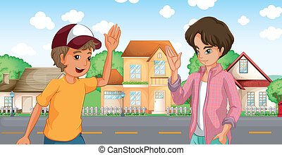 Two boys meeting across the big houses at the road -...