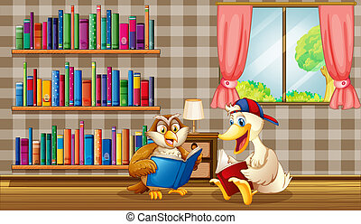 An owl and a duck reading inside the house - Illustration of...