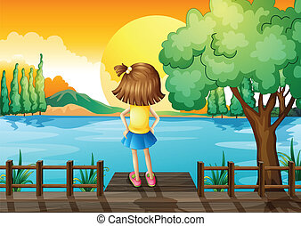 A girl standing facing at the river - Illustration of a girl...