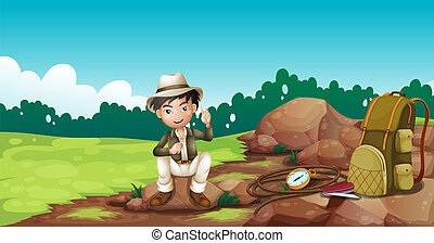 A boy wearing a hat sitting on a rock - Illustration of a...