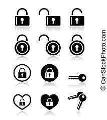 candado, llave, vector, iconos, Conjunto