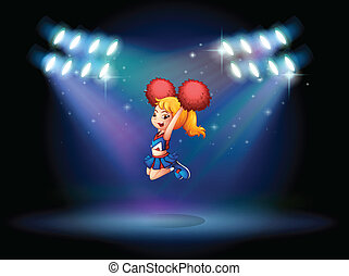A cheerleader jumping in the middle of the stage -...