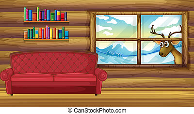 An empty sofa with bookshelves at the back