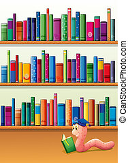 An earthworm reading a book in front of the shelves with books