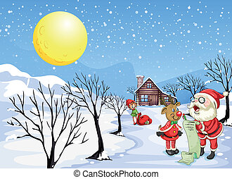 A reindeer beside Santa Claus with his list