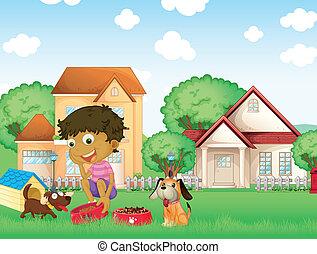 A boy feeding his puppies - Illustration of a boy feeding...