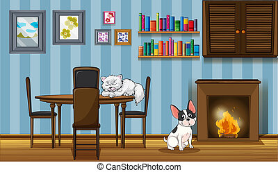 Pets inside a house near the fireplace - Illustration of the...
