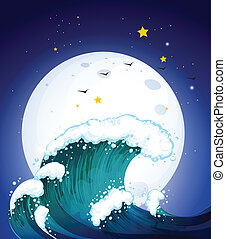 The moon and the waves - Illustration of the moon and the...